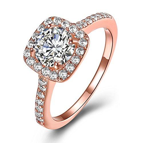 Diamond Eternal Love Band (Eternal Love Women's 18K Rose Gold Plated CZ Crystal Engagement Rings Best Promise Rings Anniversary Wedding Bands for Lady Girl, JPR002-R-7)