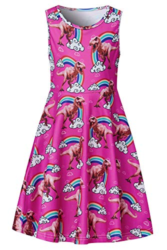 Big Girls Dresses Rose Red Gray Dinosaur Yellow Green Teal Rainbow Fairy 8t 9t Kawaii Print Nice Ruffle Twirling Jumpers Overalls Dress Belle Princess Formal Maxi Midi Tshirt Skirt Daily Casual Party