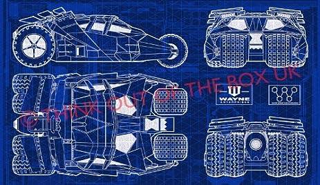 Amazon batman batmobile tumbler blueprint giant xxl one piece batman batmobile tumbler blueprint giant xxl one piece not sections over 1 meter wide poster art malvernweather Choice Image