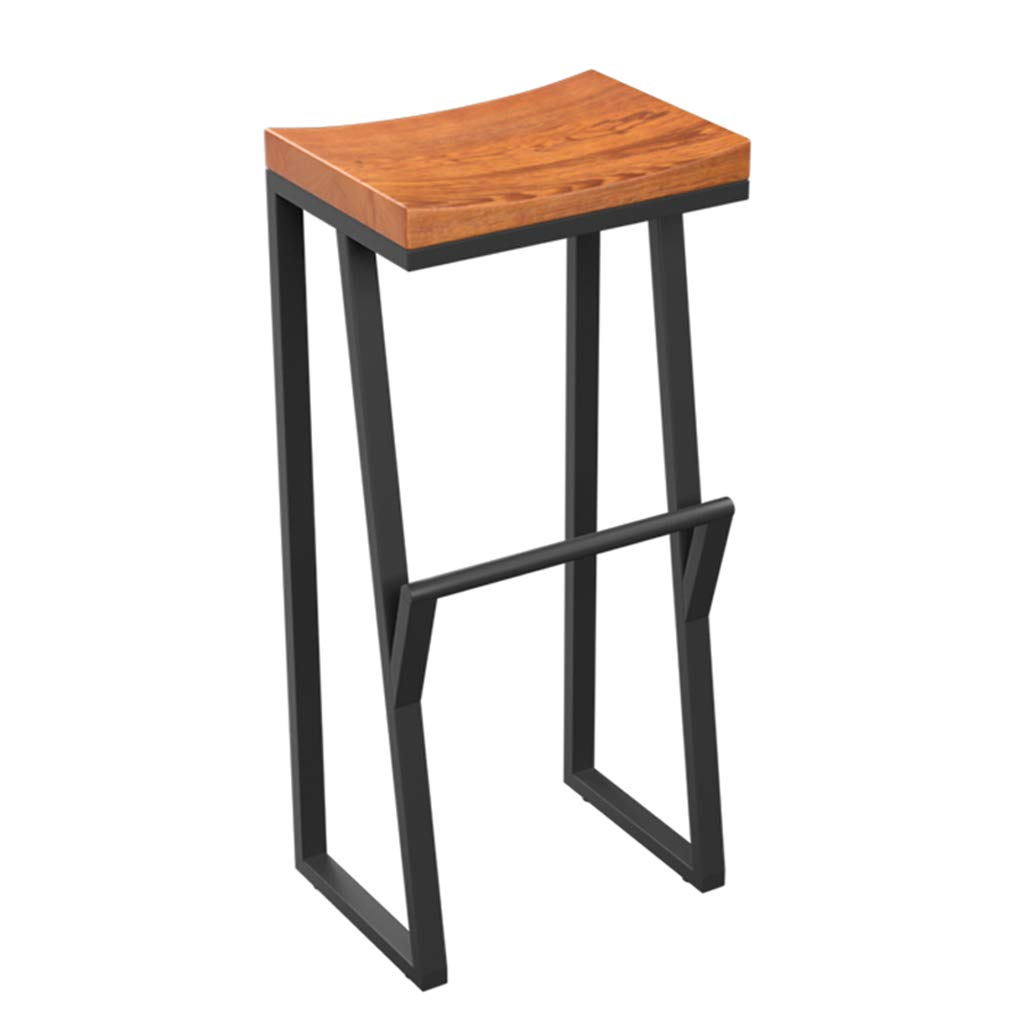 85cm Vintage Solid Wood High Stool Bar Stool Kitchen Breakfast Chair Counter Stool Wrought Iron Legs + Square Curved Seat Design (Size   85cm)