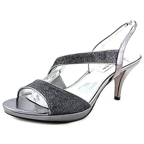 NINA Newark Women W Open Toe Canvas Gold Heeled Sandals Gunmetal Bliss Size 6.5 M -