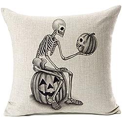 "Halloween Skull and Pumpkin Throw Pillow Case Cushion Cover Decor Cotton Linen 18"" x 18"""