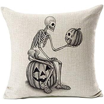 Halloween Skull and Pumpkin Throw Pillow Case Cushion Cover Decor Cotton Linen 18