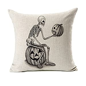 Halloween Skull and Pumpkin Throw Pillow Case Cushion Cover Decor Cotton Linen 18″ x 18″