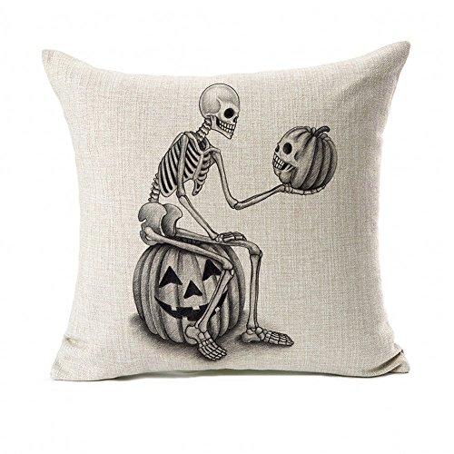 Halloween Skull and Pumpkin Throw Pillow Case Cushion Cover Decor Cotton Linen 18