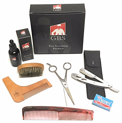 "GBS Professional Beard Kit - Cutting and Styling Scissors, Conditioning Oil, Boar Bristle Beard Brush, Barber Straight Edge Razor Shavette Shaping Template, 7"" Dressing Comb, Leather Case + blades"