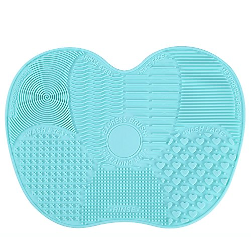 LYNN Silicone Makeup Brush Cleaning Mat, Makeup Brush Cleaner,Makeup Brush Cleaner Pad,Cosmetic Brush Cleaning Mat Portable Washing Tool Scrubber with Suction Cup?Mint Green? (Mint Green-Big Size)