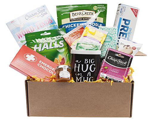 Get Well Soon Wishes Custom Gift Set Basket in Box with Soup, Mug and More