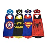 GooBee Hero Dress Up Costumes 4 Satin Capes and 4 Felt Masks For Boys