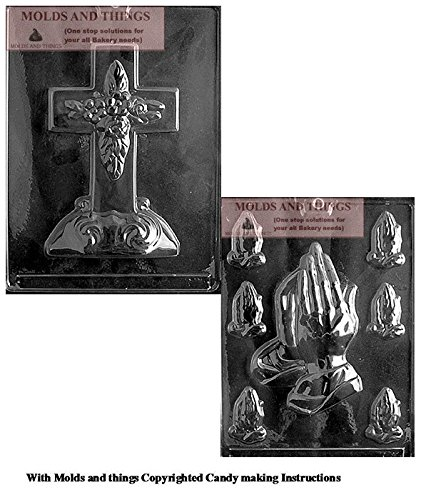 LARGE CROSS WITH BASE Chocolate Candy Mold And Assorted Praying Hands Chocolate Candy Mold With Copywrited molding -