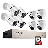 ZOSI FULL 1080p HD 8-Channel Video Security System DVR with 8pcs Indoor/Outdoor 2.0MP 1080p Bullet/Dome Cameras with Weatherproof Housing 100ft(30m) IR night vision 2TB Hard Drive