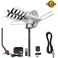 1PLUS Amplified 150 Miles HD Digital Outdoor HDTV Antenna with Adjustable Antenna Mount Pole, 360° Rotation