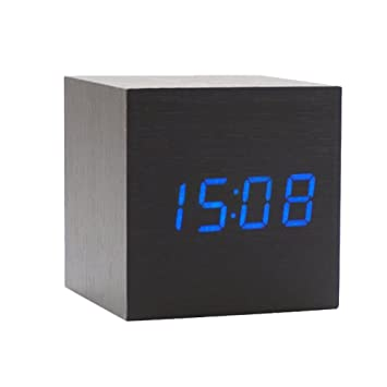 Onerbuy Wooden Digital Cube Alarm Clock Toque Sound Activated Desk Clock Reloj de Viaje portátil con