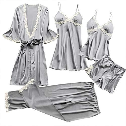 - UIFIDI Women Sexy Lace Lingerie Nightwear Sexy Lingerie Costume Style Underwear Babydoll Sleepwear Dress 5PC Suit Gray