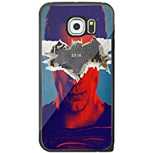 batman vs superman dawn of justice superman cover Samsung Galaxy S6 Edge Black Case