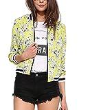 Lingswallow Womens Yellow Baseball Jacket Flower Print Long Sleeve Coat Blazers