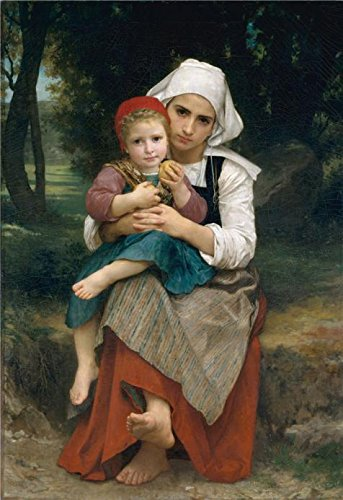 Double Face Mobile Bookcase (Oil Painting 'Adolphe William Bouguereau-Breton Brother And Sister,1871', 8 x 12 inch / 20 x 30 cm , on High Definition HD canvas prints, gifts for Bath Room, Home Theater And Living Room Decoration)