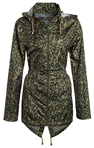 Chocolate Pickle Ladies Leopard Print Hooded Rain Coat (16, Leopard Print)