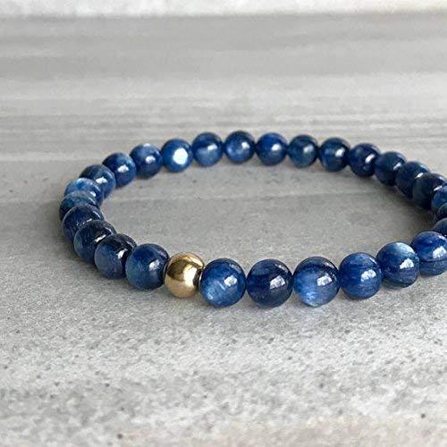 (Blue Kyanite Bracelet | Semi Precious Stone Jewelry | 14K Gold Filled Beaded Bracelet | Handmade Minimalist Gemstone Jewelry 6 mm 7 inch Long by Gemswholesale )