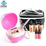 Pro 0.3mm Airbrush Makeup System Kit with Air Compressor & Concealer Foundation Blush Eyeshadow Set