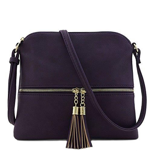 Bag with Tassel Purple Body Color Block Cross Americana axgBpPP