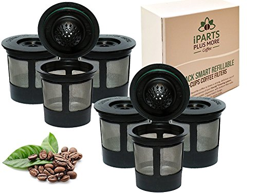 iPartsPlusMore 6 Reusable Single Cup Keurig Solo Filter Pod Coffee Stainless Mesh