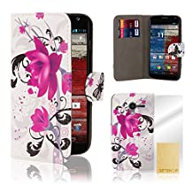 32nd Design book wallet PU leather case cover for Motorola Moto X Play (2015 edition) - Purple Rose
