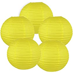 "Just Artifacts 12"" Lemon Yellow Chinese Japanese Paper Lanterns (Set of 5) - Click for more Chinese/Japanese Paper Lantern Colors & Sizes!"