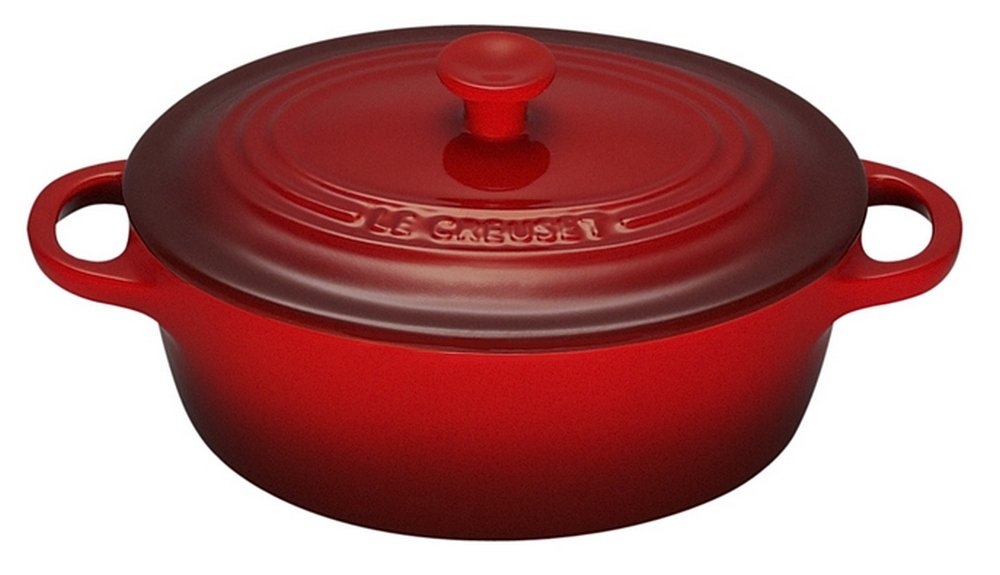 Le Creuset Stoneware 12-Ounce Mini Oval Cocotte, Cerise (Cherry Red)
