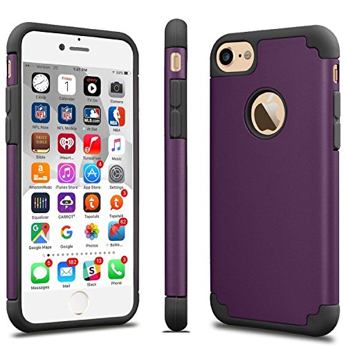 Price comparison product image iPhone 8/7 Thin Case, HLCT Slim Hybrid Dual-Layer Case for iPhone 8/7 (Purple)