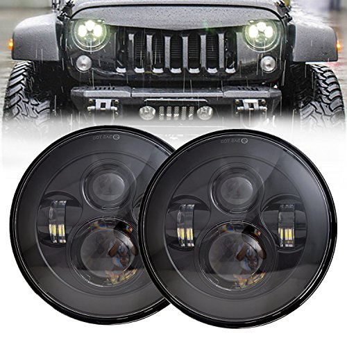 Pair Classic 7 inch Round Osram LED Headlight 45w High Low Beam for Jeep Wrangler Harley Motorcycles Black