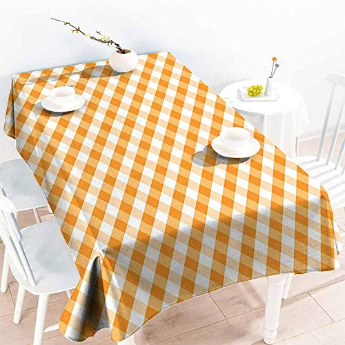 Elastic Tablecloth Rectangular,Checkered Diagonal Gingham Pattern in Orange and White Tones Old Fashioned Classical Tile,Fashions Rectangular,W52x70L Orange White