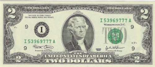 2 Dollar Bill - Holder Included - 1976 Series