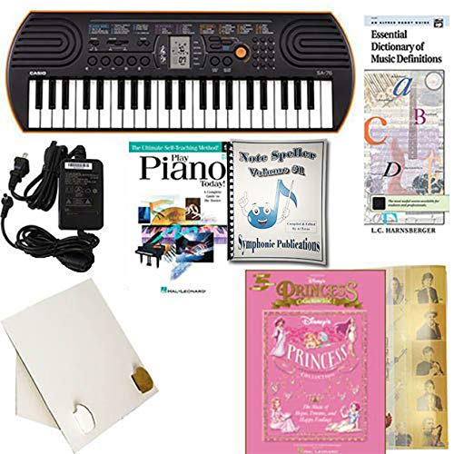 (Homeschool Music - Piano Pack (Disney Princesses) W/Casio SA76 Keyboard w/Adapter, learn 2 Play DVD/Book, Symphonic Note Speller Vol. 1 & All Learning Essentials )