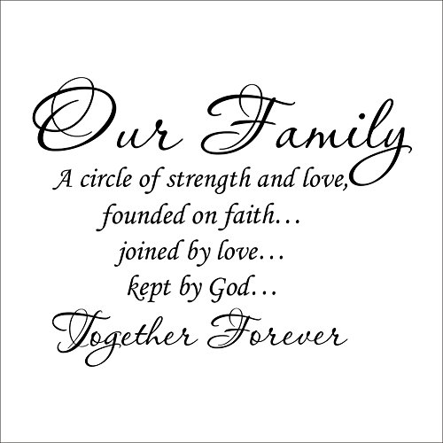 HACASO Our Family A Circle of Strength And Love Bedroom Quote Decors Wall Saying Decals Quote for Home Wall Stickers