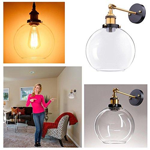 "1-Light 7 9/10"" Clear/Amber Glass Globe Shade Wall Sconce Light - Glass Nederland"