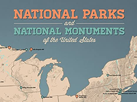 Amazoncom US National Parks  Monuments Map 18x24 Poster Tan