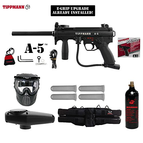MAddog Tippmann A5 A-5 w/Selector Switch E-Grip Silver Paintball Gun Package - Black