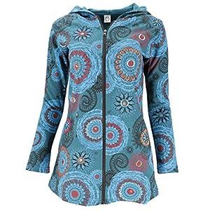 GURU SHOP Chaqueta larga Hippie Chic para mujer, de algodón, estilo bohemio, ropa alternativa verde petróleo/azul… | DeHippies.com