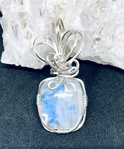 (Blue/Purple Moonstone Pendant in 925 Sterling Silver Wire Wrapped Pendant, Wire Sculpted Jewelry, Women's Fine Jewelry, Women's Jewelry Gift)