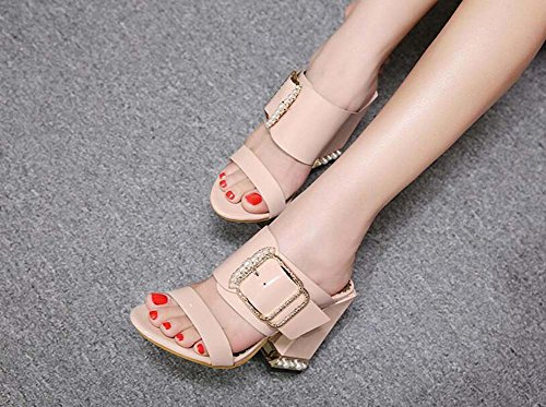 Open Beige Deco Belt Shoes Pump Women Size flop 11cm Heel Cool Roma Eu Chunkly Toe 40 Color Pearl Flip Shoes 34 Casual Dress Slippers Pure Buckle Shoes 6FfqTWwWY