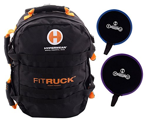 Hyperwear Fit Ruck Convertible Sandbag Training Ruck Sack/Sand Bell Package, Black/Orange, 2400 cu. in./20 lb