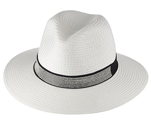Fedora Rhinestone (Something Special Women's Paper Woven Rhinestone Band Panama Sun Hat, White)