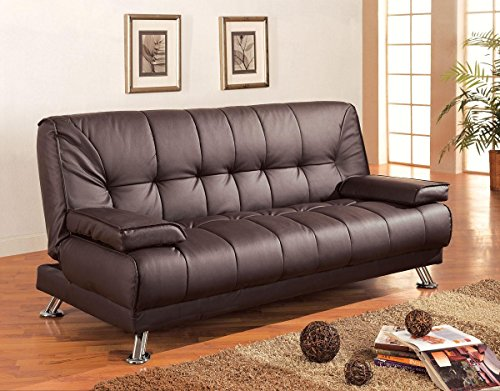 Convertible Sofa Bed with Removable Armrests Brown