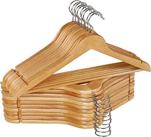 Utopia Home Non-Slip Premium Wooden Hangers – 360-Degree Rotatable Hook – Durable & Slim – Shoulder Grooves…