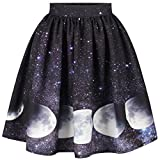 Slim Bloom Womens Digital Printed High Waist Pleated Flare Skater Mini Skirt