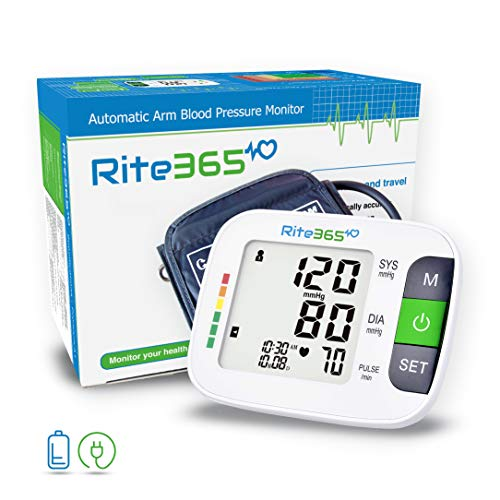 Arm Blood Pressure Monitor by Rite365 – Automatic -FDA approved – for Home and Travel – Upper Arm Cuff fits Standard and Large Arms, Deluxe Carry Case, Large Display Tonometer -AAA Batteries Included
