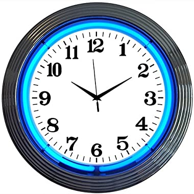 Neonetics Bar and Game Room Neon Alphanumeric Wall Clock with Blue Neon and Chrome Rim, 15-Inch