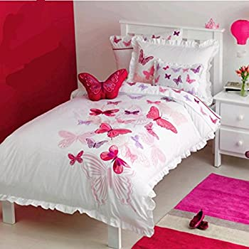 LELVA Rose Butterfly Pattern Cartoon Bedding Sets, Children's Embroidered Duvet Cover Set, Kids Bedding Girls, Twin Full Size (Twin)