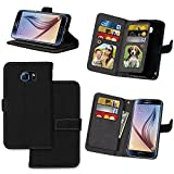 IVY Wallet Galaxy S6 Case with Kickstand Feature and Matte Texture Design For Samsung Galaxy S 6 SM-G920 PU Leathet Flip Cover [9 Card Slot Holder][2 Photo Album] Magnetic Closure - Black